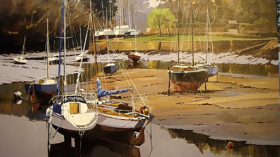 Basse mer à Pont-Aven - acrylique sur toile - 73 x 60 cm © Henri Belbéoc'h