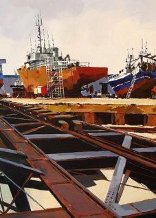 Chantier naval - acrylique sur contrecollé © Henri Belbéoc'h