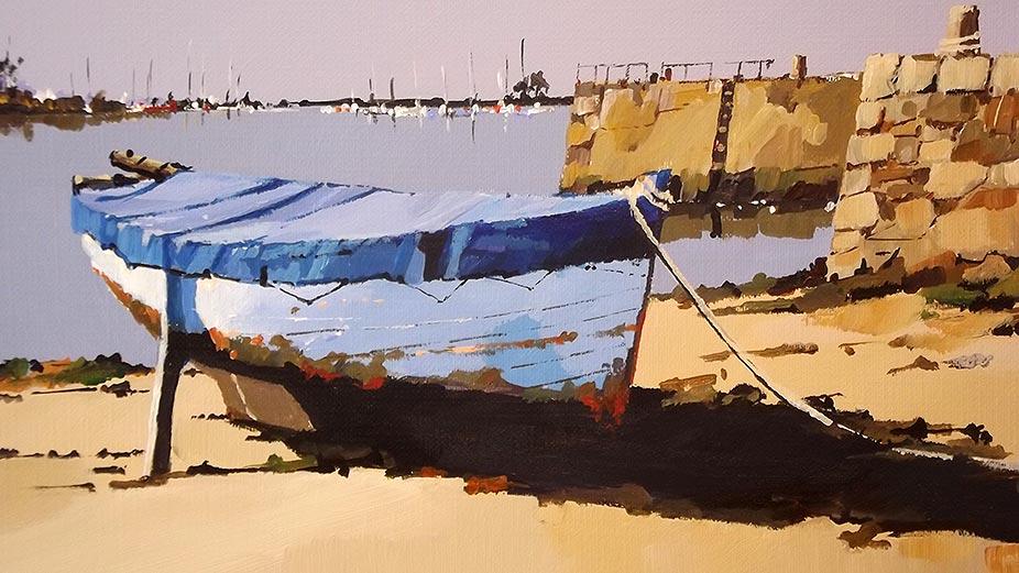 Le bateau bleu - acrylique sur contrecollé - © Henri Belbéoc'h