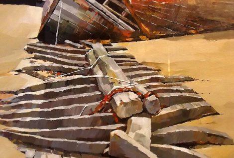 L'épave de Rostellec - acrylique sur contrecollé - 67 x 51 cm © Henri Belbéoc'h