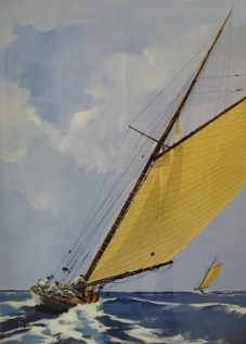 Le grand voilier - acrylique sur contrecollé - 86 x 82 cm - © Henri Belbéoc'h