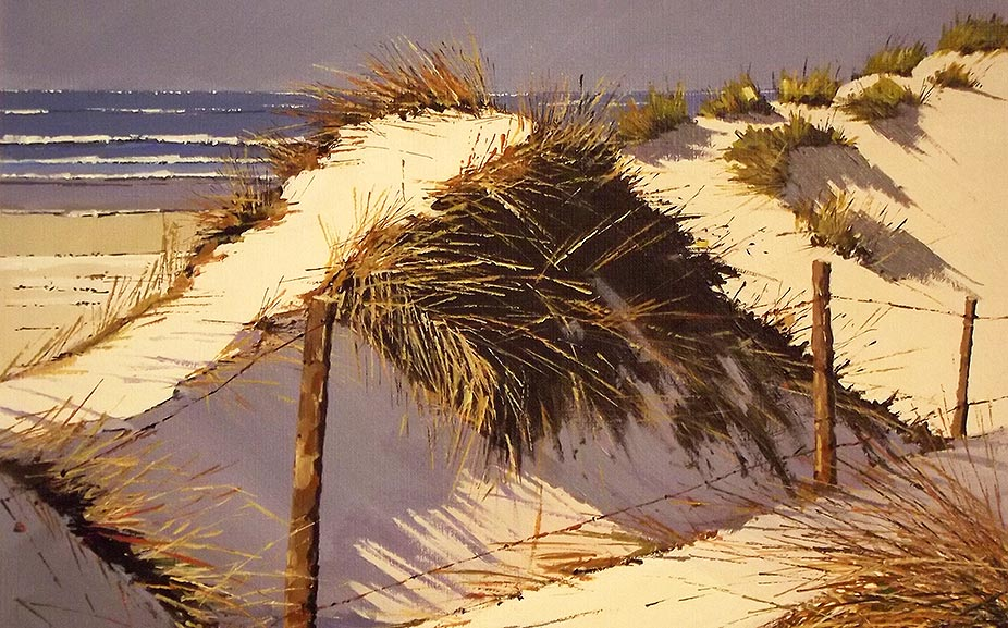 Les dunes de Tronoën - acrylique sur contrecollé - 54 x 54 cm - © Henri Belbéoc'h