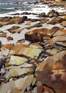 Les rochers de Trévignon - acrylique sur contrecollé - 93 x 74 cm - © Henri Belbéoc'h