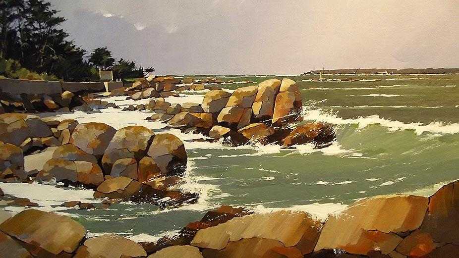 Les rochers du Cabellou - acrylique sur toile - 72 x 60 cm - © Henri Belbéoc'h