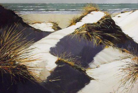 Les dunes de La Torche - acrylique sur contrecollé - © Henri Belbéoc'h